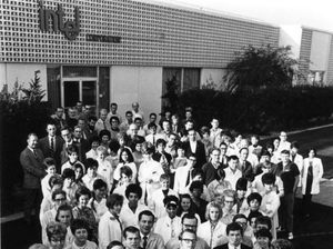 "Intel's staff of just over 100 employees outside their first building in Mountain View, in 1969. Front left, co-founder Robert Noyce; front right, co-founder Gordon Moore. "" alt=""Intel's staff of just over 100 employees outside their first building in Mountain View, in 1969. Front left, co-founder Robert Noyce; front right, co-founder Gordon Moore."