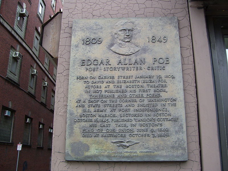 Plaque marking Poe's birthplace in Boston