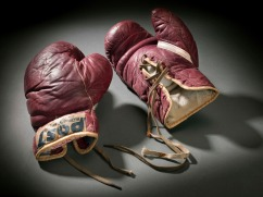 Training boxing gloves used and signed by Cassius Clay 1960.