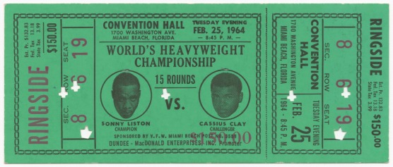 Ticket for the World Heavyweight Championship of Sonny Liston vs. Cassius Clay