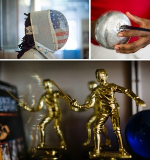 Top: Pryor stands with his mask and epee. Bottom: Fencing trophies on display at the Fencers Club in New York City.