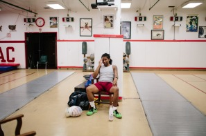 Pryor takes a moment after a long training session at the New York Athletic Club.