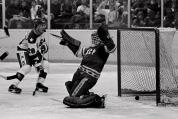 Michael Eruzione (not pictured) scores past Vladimir Myshkin to give the U.S. a 4-3 lead in the third period. (AP)