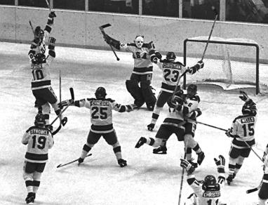 The U.S. Olympic hockey team celebrates after their 4-3 upset victory over the heavily favored Soviet team at the Winter Olympics in Lake Placid on Feb. 22, 1980. (AP)