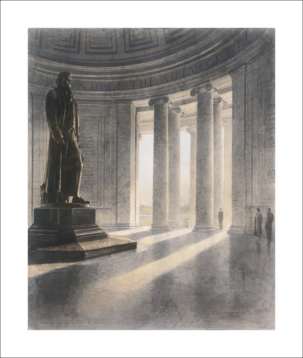 Sketch of the Jefferson Memorial Interior, by A.R. Eggers, 1943. (Records of the National Park Service, National Archives)