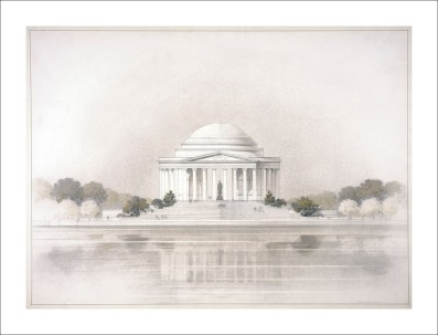 Sketch of the Jefferson Memorial—North Elevation, ca. 1940. (Records of the National Park Service, National Archives)