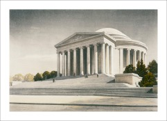 Sketch of the Jefferson Memorial as Seen from Tidal Basin, ca. 1940. (Records of the National Park Service, National Archives)