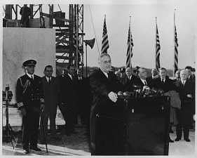 President Franklin D. Roosevelt at the Jefferson Memorial cornerstone laying, November 15, 1939. (National Archives Identifier 196630)