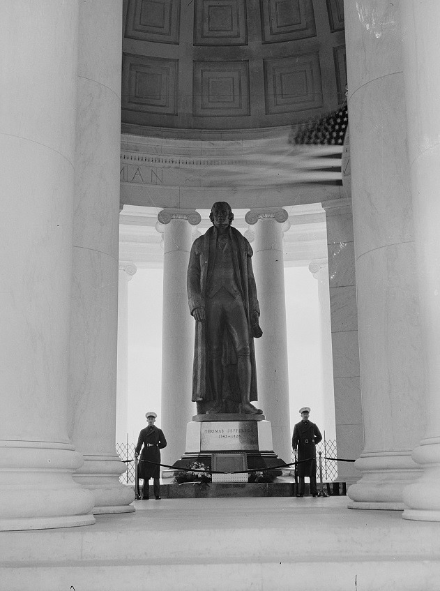A Marine Honor Guard stands watch over the original Declaration of Independence, April 13, 1943. (Photo courtesy of the Library of Congress)